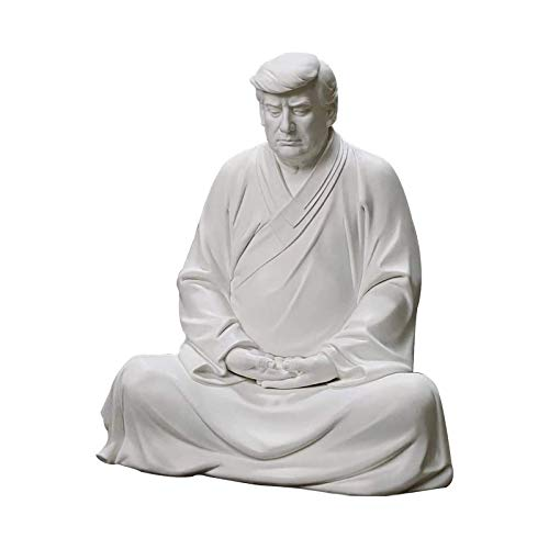 Donald Trump Buddha Statues, Chinese Style West Listen to Buddha, Resin Donald Trump Figurines Artwork Decorative for Desktop, Home, Office