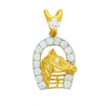 AvenueDuBijou – Colgante de hierro a caballo con circonio oro amarillo de 18 quilates + cadena de oro amarillo de regalo