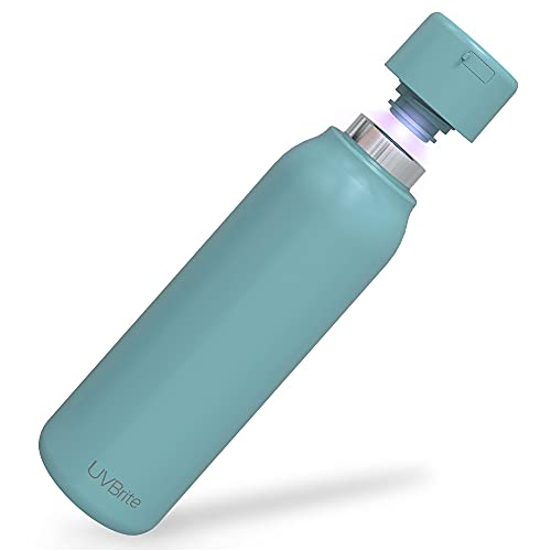 UVBrite Go Self-Cleaning UV Water Bottle - 18.6 oz Insulated Stainless-Steel Rechargeable Reusable Bottle Push Button Sterilization Travel Friendly BPA Free Leakproof Safety Lock and Touch Sensor