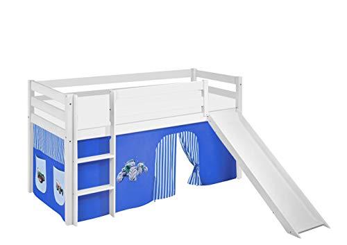Lilokids Spielbett JELLE mit Rutsche und Vorhang Kinderbett, Holz, weiß, 208 x 98 x 113 cm