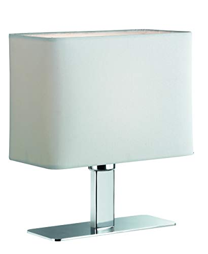 Reality Leuchten Tischlampe Tischleuchte / 1xE14 max. 40W ohne Leuchtmittel / 23 x 20 cm mit Schnurschalter, Schirm weiß, Fuß chrom R50111001