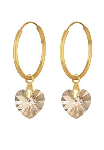 Elli Ohrringe Damen Creole Herz Liebe mit Swarovski® Kristalle in 925 Sterling Silber vergoldet
