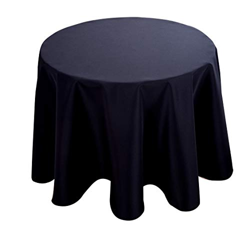 Biscaynebay Fabric Tablecloths, Water Resistant Spill Proof Tablecloths for Dining, Kitchen, Wedding and Parties, Black 60 Inches Round