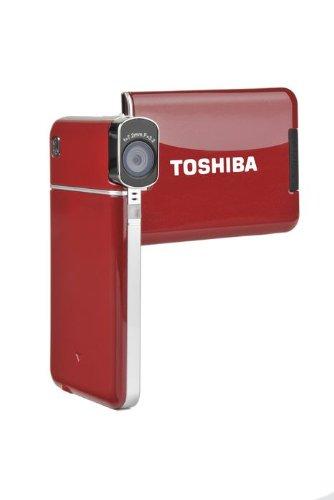Toshiba Camileo S20 Full-HD Camcorder (5 Megapixel, 4-Fach digital Zoom, 7,6 cm (3 Zoll) Display, Bildstabilisator) rot