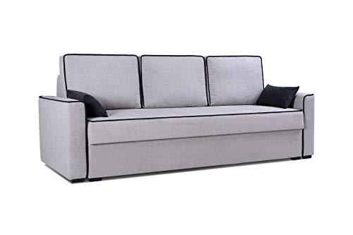 mb-moebel Sofa Couch mit Schlaffunktion und Bettkästen Wohnzimmer Schlaffsofa FLOS(Silber)