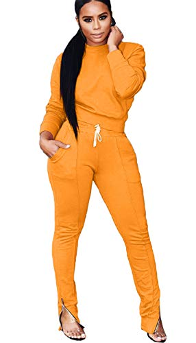 Mintsnow 2 Piece Sweatsuits for Women Hoodie and Sweatpants Solid Jogging Suits Orange