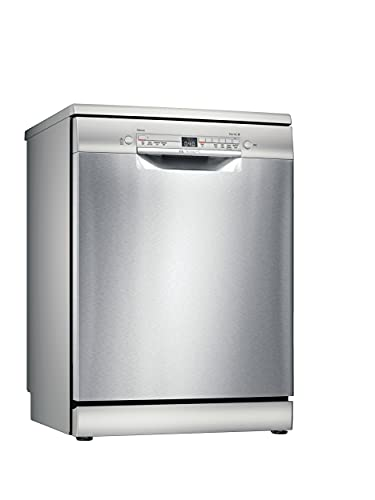 Bosch SGS2ITI41G Serie 2 Freestanding Dishwasher, ExtraDry, Glass Protection, Height Adjustable Top Basket, DosageAssist and Load Sensor, 12 place settings, 60cm wide - Silver Inox