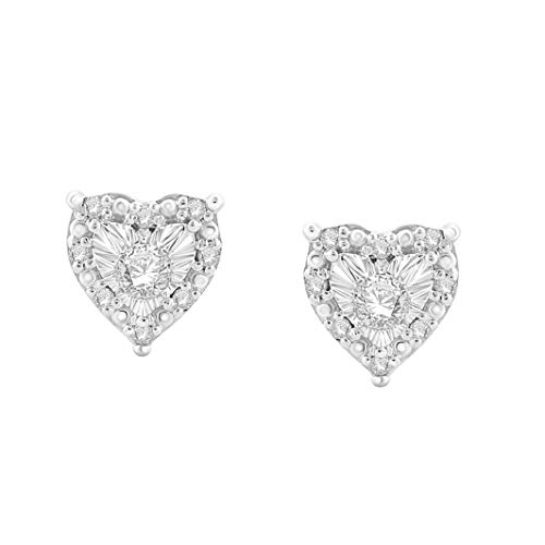 NATALIA DRAKE 1/4 Cttw Diamond Heart Shape Halo Stud Earrings for Women in Rhodium Plated Sterling Silver (Color I-J / Clarity I2-I3)