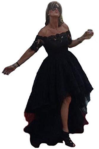 Diandiai Off Shoulder Hi Lo Gothic Prom Dresses for Women Short Sleeve Lace Evening Dresses Plus Size Black 16