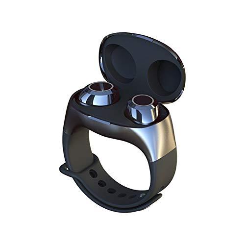 Calistouk Auriculares Inalámbricos Pulsera Auriculares Deportivos Portátil con Micrófono Incorporado Compatible con Teléfono iOS Android Negro