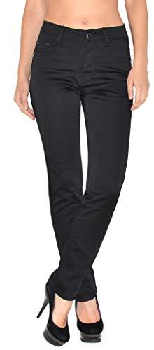 ESRA ESRA Damen Hose Straight Leg Hose High-Waist Regular Damen Stretch Stoffhose bis Übergröße T101
