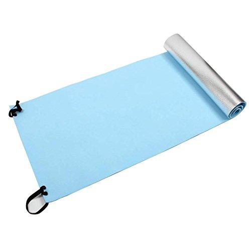Colchoneta extra gruesa para camping, picnic, esterilla de yoga, para dormir al aire libre, esterilla de fitness (azul, plata) para yoga y pilates