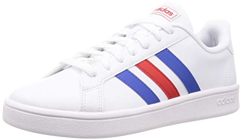 Adidas Grand Court Base, Scarpe da Tennis, Uomo, Bianco (ftwr white/blue/active red), 42 2/3 EU