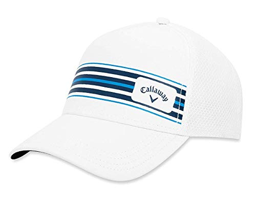 Callaway Golf Stripe Mesh Hat, White/White/Blue