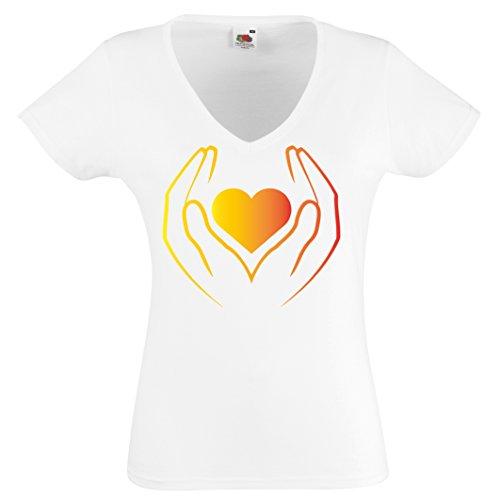 Herz Tshirt Liebes Shirt Amore Herzhand Damen V Neck Valentinstag