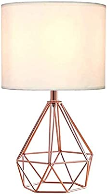 ZeroPlusOne® Modern Table Lamp, Diamond Metal Wire Cage Base E27 lamp Holder with Fabric Lampshade for Home Office Cafe Restaurant (AU Plug)(Rose Gold)