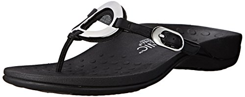 Vionic Women's Rest Karina Toe-Post Sandal - Ladies Flip- Flop with Concealed Orthotic Arch Support Black 10 M US
