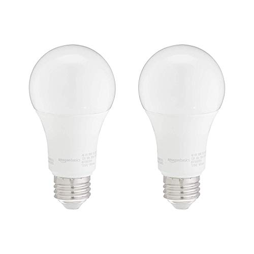 Amazon Basics 100W Equivalent, Daylight, Non-Dimmable, 10,000 Hour Lifetime, A19 LED Light Bulb | 2-Pack