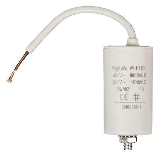 Condensador arranque motor electrico 12.0 uF 450 V con cable Blanco
