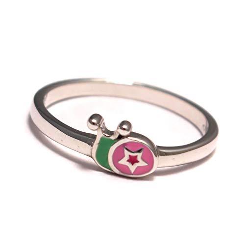 Schnecke Kinder Ring bunt, Kinderring 925 Sterling Silber, Mädchen Schmuck Sternchen, Schnecken Stern Silberring