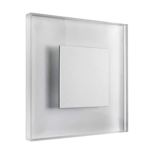 LED Treppenbeleuchtung Premium SunLED Large Warmweiß 230V 1W Echtes Glas Treppenlicht mit Unterputzdose Treppen-Stufen-Beleuchtung Wandeinbauleuchte (ALU: Weiß; LICHT: Warmweiß, 1 Stück)