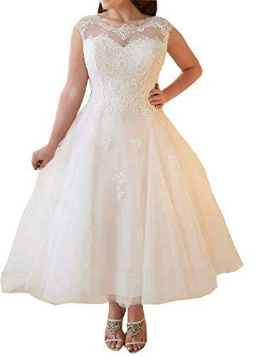 Hochzeitskleider Damen Brautkleid Brautmoden Tüll Spitze Knöchellang A Linie Weiß EUR56