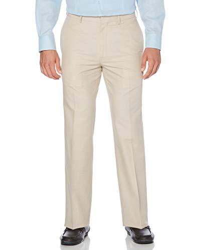 Cubavera Men's Cotton Herringbone Textured Pant, Natural Linen, 32X30