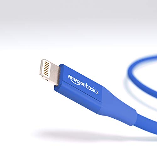 AmazonBasics USB A Cable with Lightning Connector, Advanced Collection - 6 Feet (1.8 Meters) - Single - Blue