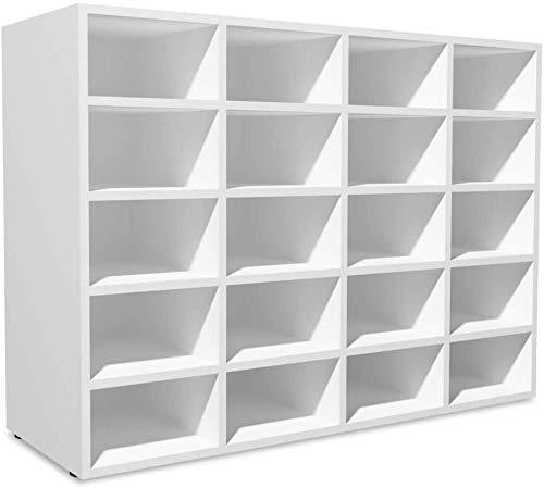 lyrlody Zapatero Madera Estante Mueble, Zapatero Multi-Nivel Armario de Entrada Blanco con 20 Compartimentos + Fácil de Limpiar + Patas de Plástico Blanco Mate, 92 x 33 x 67,5 m
