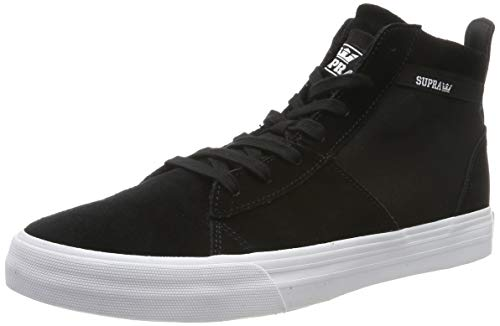 Supra Footwear - Stacks Mid Top Skate Shoes, Black/Black-White, 12.5 M US Women/11 M US Men