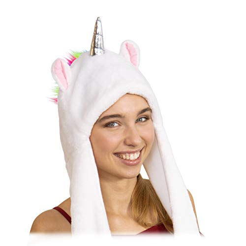 relaxdays Bonnet, Adulte, chapeau de licorne, avec corne, oreilles & crinière arc-en-ciel, doux, blanc, unisexe