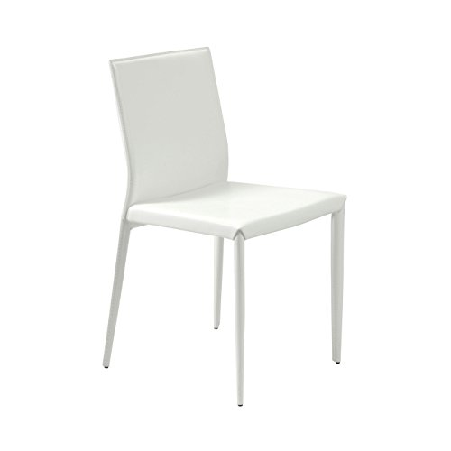 Hot Sale ITALMODERN Shen Leather Chair, White, Set of 4