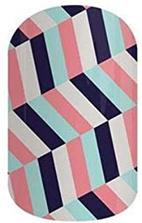 Jamberry Nail Wraps - 2015 July Host Exclusive - Full Sheet - Pink Blue and Navy Geometric