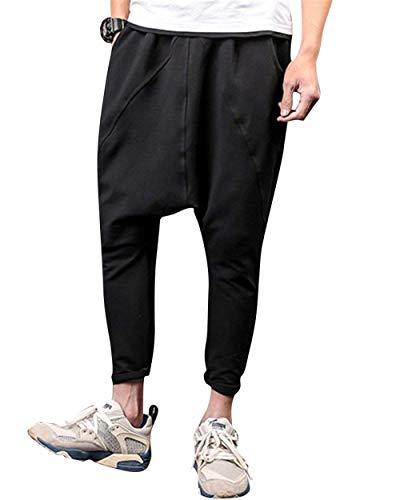 Herren Baggy Jogginghose Fitnesshose Tasche Drop Crotch Hose Sporthose Freizeithose Harem Fashion Trousers Einfarbig (Color : Schwarz, Size : XL)