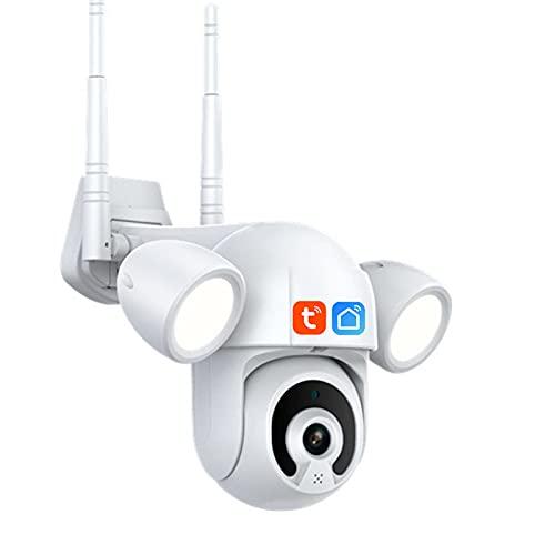Cámara de reflector para exteriores, 4X Zoom 1080P Cámara IP Seguimiento automático P2P Cámara PTZ Impermeable 30M IR Visión nocturna en color, Cámara de seguridad Wifi