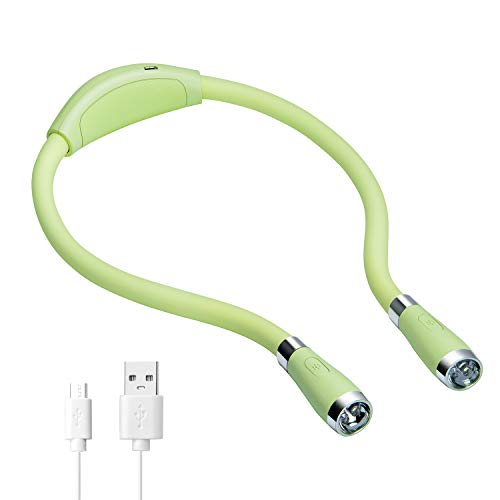 LEDネックブックライトUSB充電式、ハンズフリー、4つの超高輝度LED電球、3つの調整可能な明るさ、ベッドでの読書、編み物、ウォーキング、ジョギング、夜の修繕に最適(緑)