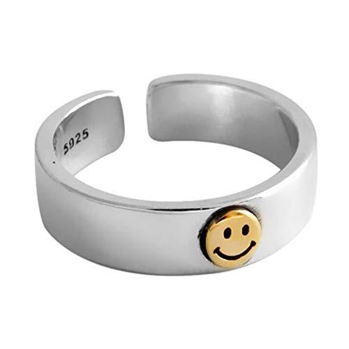 Aukmla Anillo de cara sonriente, anillo abierto de plata, anillo ajustable para nudillos sonrientes, anillos de dedo feliz, para mujeres y niñas