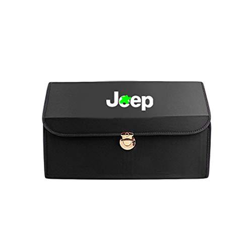 LAUTO Organizador ordenado del Maletero del Coche,Adecuado para Jeep Wrangler Rubicon Grand Cherokee Renegade Sahara Contenedor de Carga Plegable,Multi Compartimentos portátiles para automóvil,Negro