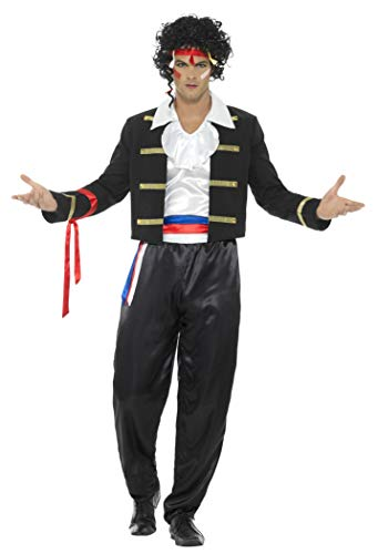 Smiffy's - Heren jaren 80 nieuwe romantiek kostuum, jas, broek, hemd en haarband, zwart