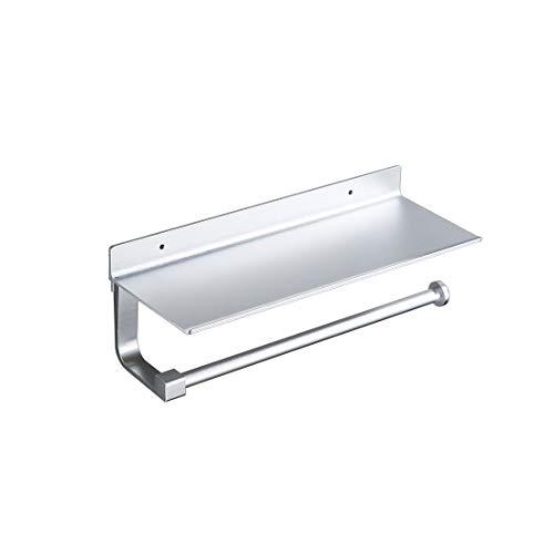 Safeni Küchenrollenhalter ohne Bohren, Küchenrollenhalter Ablage Papierhandtuchhalter Küchenrollenhalter Aluminium Selbstklebend oder Wandmontage(33x12x8.2cm)