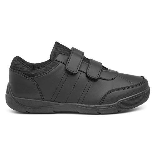Trux Boys Black Easy Fasten Shoe in Black - Size 8 Child UK - Black