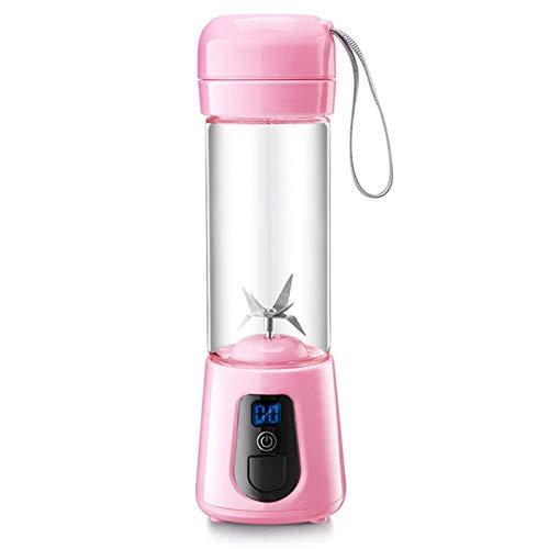 ZZJ Entsafter Tragbarer Mixer Usb Wiederaufladbarer Single-Cup Personal Blender Smoothie Und Smoothie Juicer Obstmixer (6 Klingen), Pink