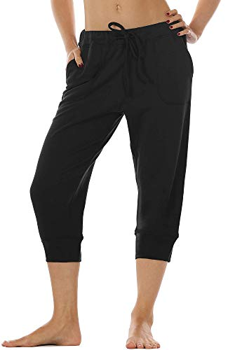 icyzone Damen Hosen 3/4 Sweathose Jogginghose Baggy Casual Pants Sporthose (M, Black)