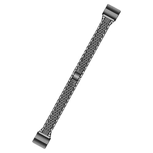 ULTECHNOVO Pulseira de Relógio de Aço Inoxidável Pulseira de Metal para Substituição de Smartwatch Pulseira Compatível para Fitbit Charge 2 (Preto)
