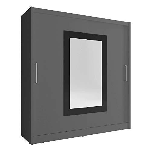 Sarah 2-2 puertas correderas espejo grande dormitorio estilo moderno armario - gris - 200 cm