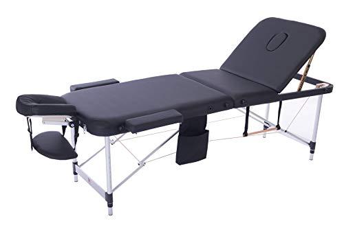 MASSUNDA COMFORT LIGHT Massage-Liege klappbar und höhenverstellbar – mobiler Massagetisch mit Alugestell inkl. Frotteebezug, Arm- und Rückenlehne, Nackenkissen, ergonomische Kopfstütze (schwarz)