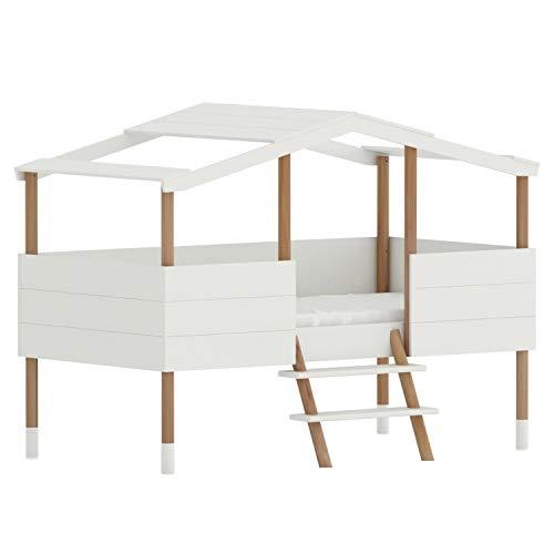 NatureKid - Hüttenbett Noah halbhoch, aus Kiefer Weiß/Natur lackiert wasserbasis, Kinderbett Spielburg Spielbett Hausbett Jugendbett Baumhaus Holz Kinder