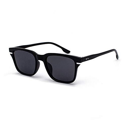 ERLIZHINIAN Leopardo médula Gafas de Sol polarizadas de los Hombres Retro Plazoleta Mujeres Sun glaases conducción Sombras (Lenses Color : 1 Black Grey, Size : A)