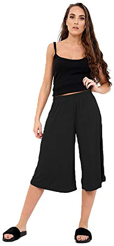 Candid Styles Women Elasticated Waist Plain Wide Leg Flared 3/4 Length Culottes Shorts 8-26 Black