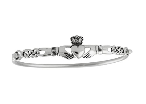 FashionJunkie4Life 925 Sterling Silver Irish Claddagh Celtic Knot Bangle Bracelet